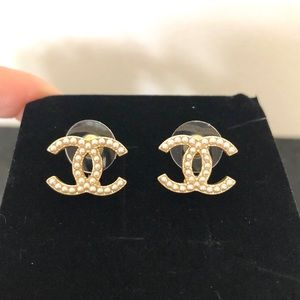 Chanel Double CC Pearl Gold Tone Stud Earrings